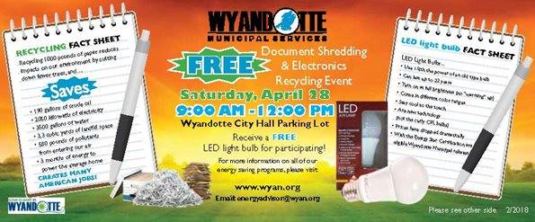 Paper Shred/Electronics Recycling day @ Wyandotte City Hall Parking Lot | Wyandotte | Michigan | United States