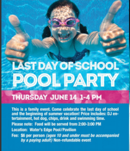 Last Day of School Pool Party @ Water's Edge | Grosse Ile Township | Michigan | United States