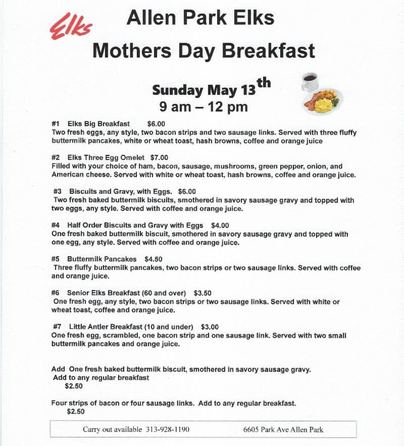 Allen Park Elks Mother's Day Breakfast @ Allen Park | Michigan | United States