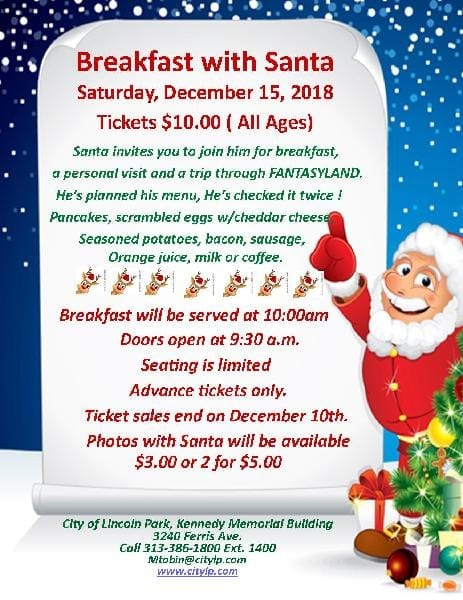 Breakfast With Santa @ Kennedy Memorial Building | Lincoln Park | Michigan | United States