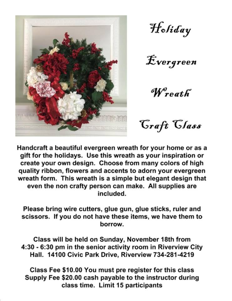 Wreath Craft Class @ Riverview City Hall | Riverview | Michigan | United States