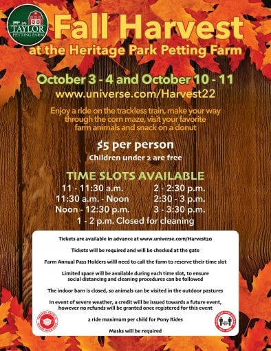 Fall Harvest: Trackless Train & Corn Maze Weekends @ Heritage Park Petting Farm